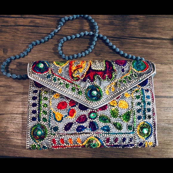 Women Cotton Embroidery Magnetic Clutch Purse